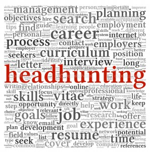 Headhunting concept in word tag cloud